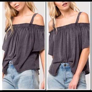 We The Free [Free People] grey cold shoulder top